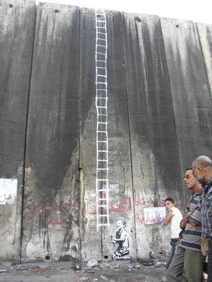 palestinewallbanksyladder